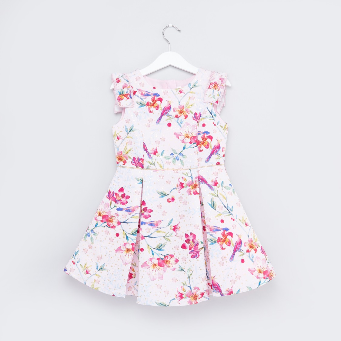 Floral Printed Sleeveless Dress with Ruffle Detail