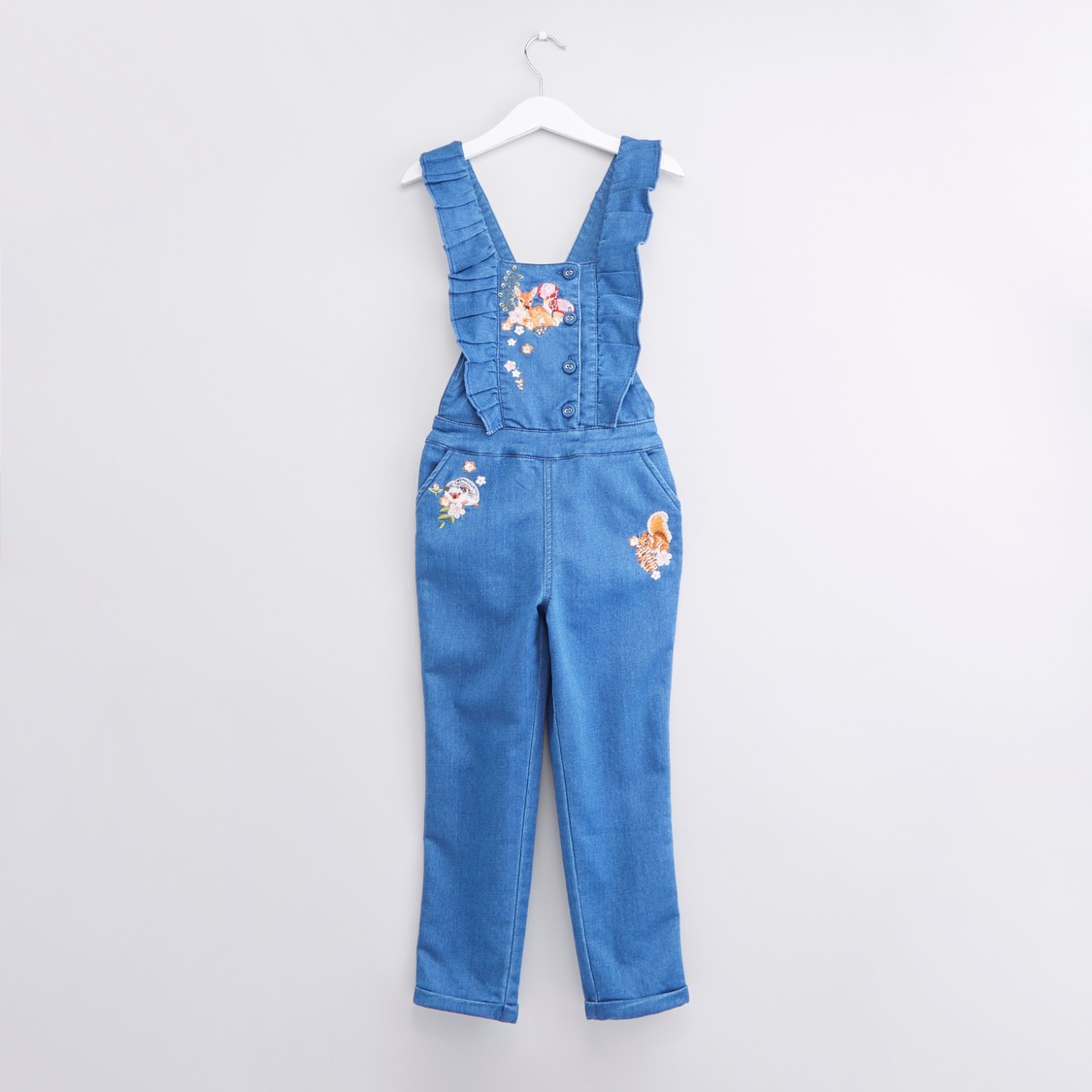 Embroidered Jumpsuit with Ruffle Detail