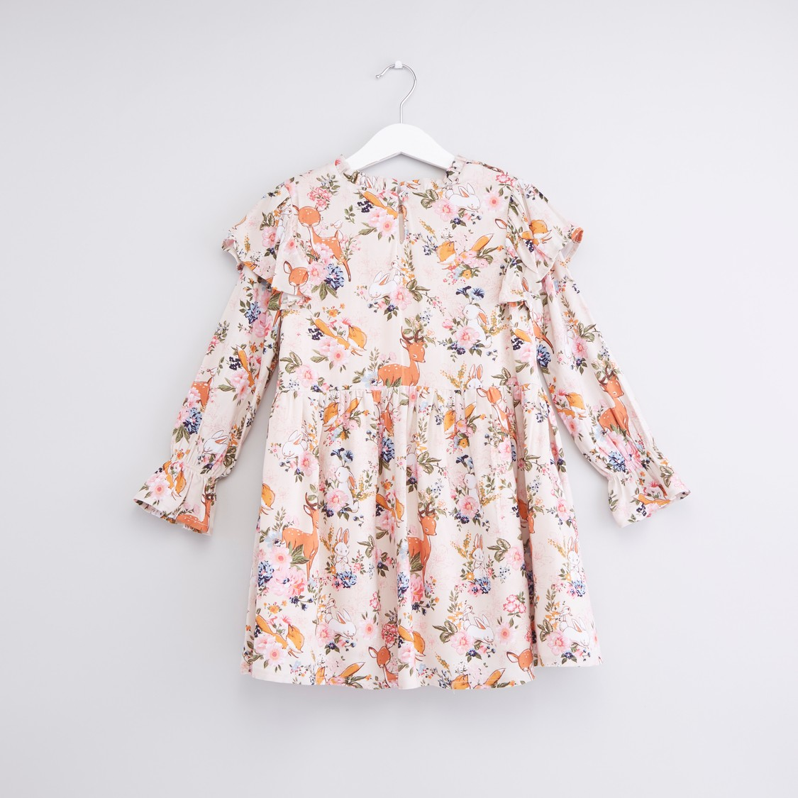 Printed Dress with Ruffles and Long Sleeves