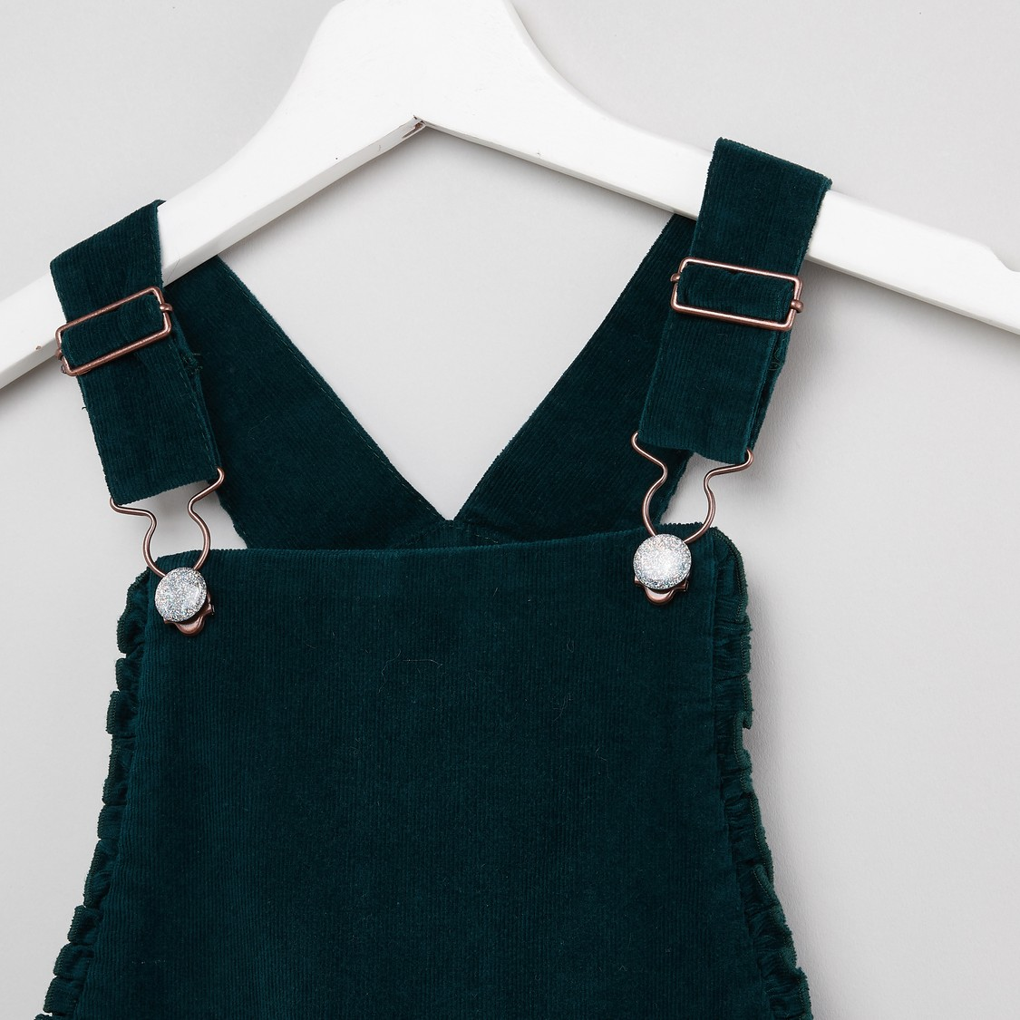 Textured Dungaree with Adjustable Straps and Button Closure