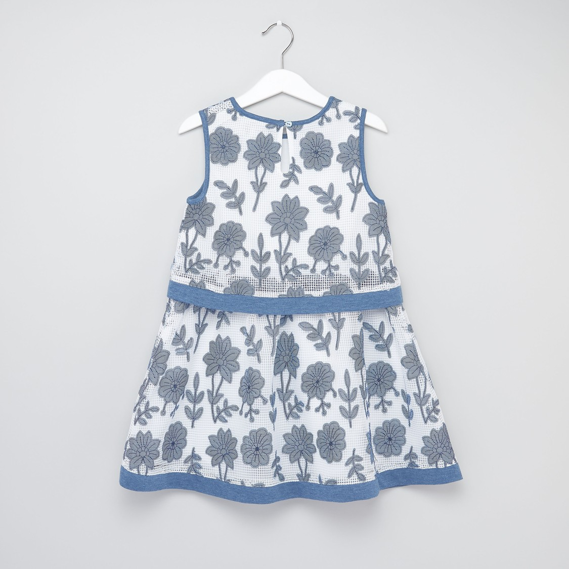 Round Neck Sleeveless A-line Dress with Floral Applique
