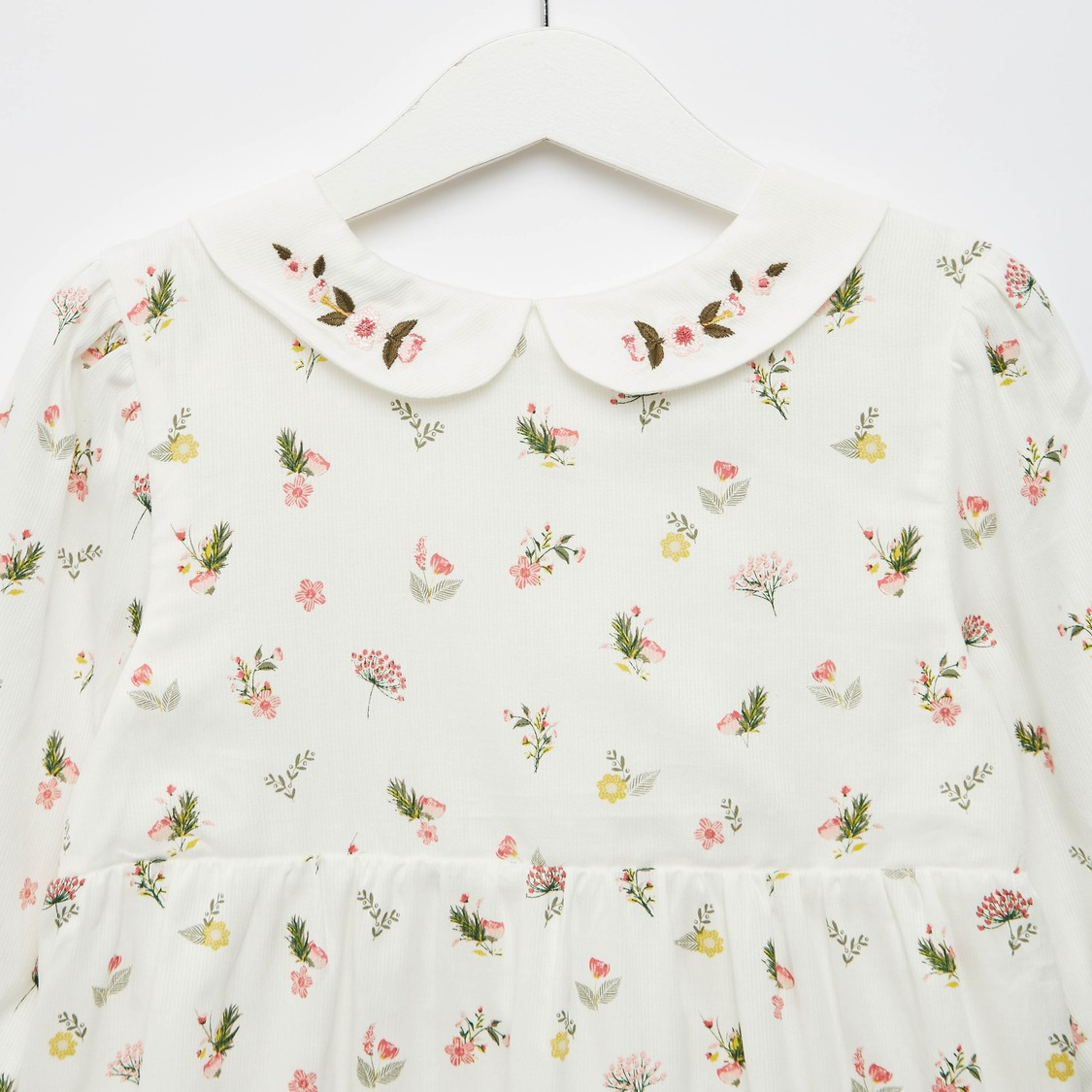 All-Over Floral Print Dress with Peter Pan Collar and 3/4 Sleeves