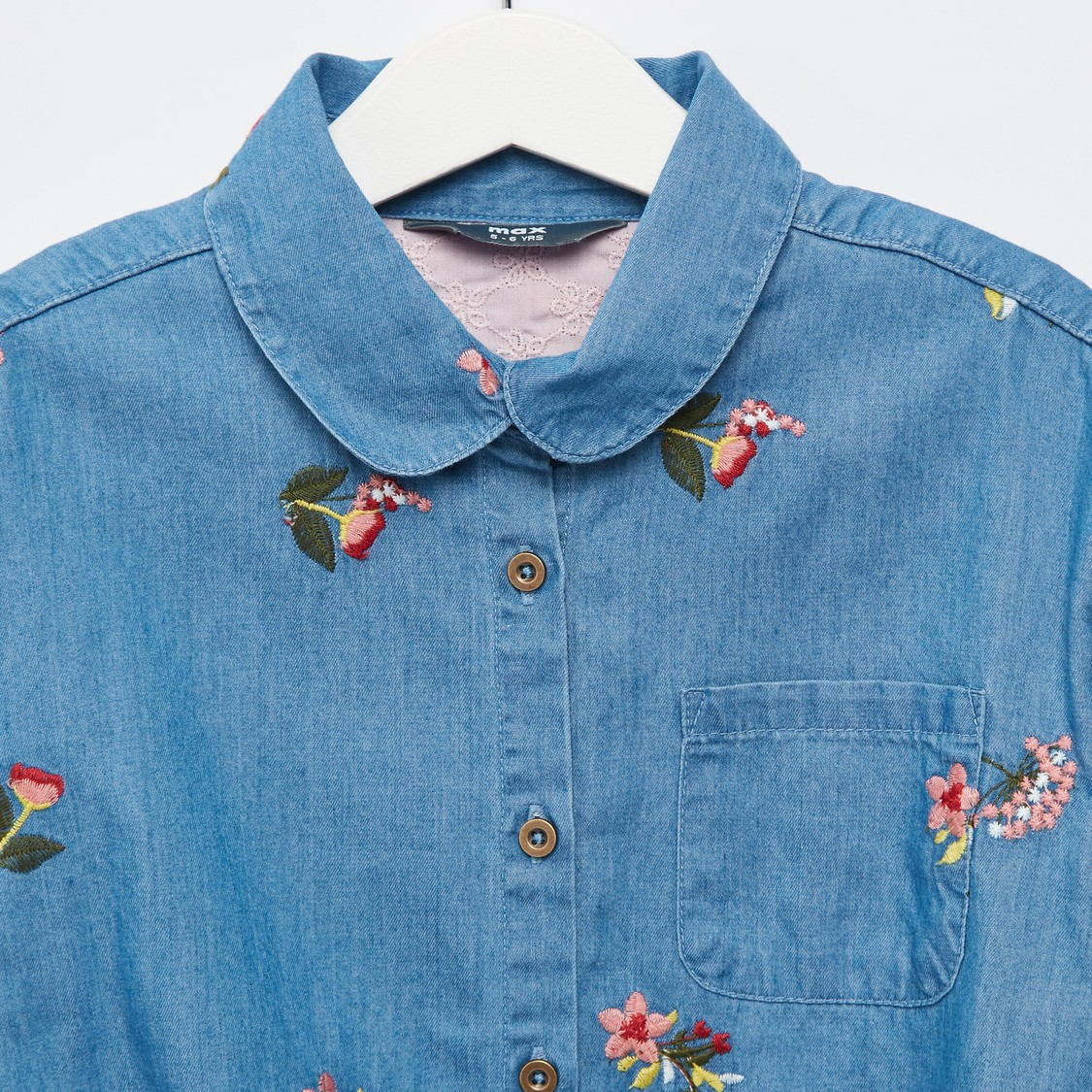 Embroidered Detail Denim Shirt with Long Sleeves and Knot Detail