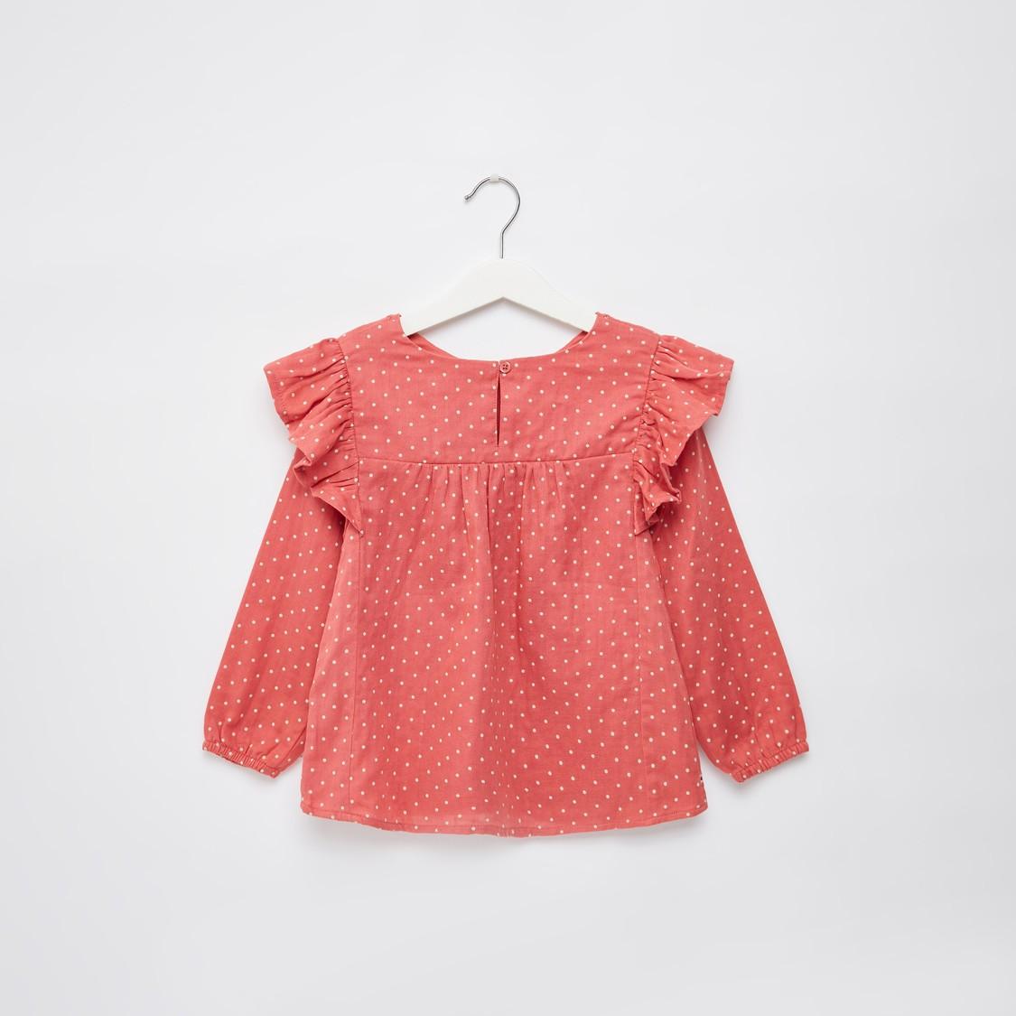 Polka Dot Print Tunic Top with Embroidered Yoke and Long Sleeves