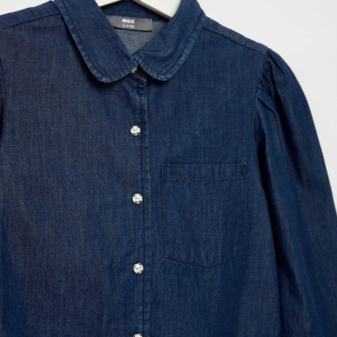 قميص دينم سادة بأكمام طويلة وتفاصيل عقدة وزر إغلاق