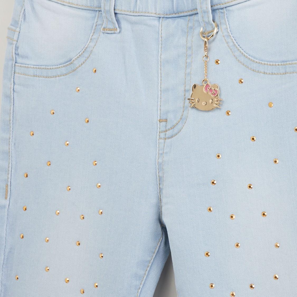بنطلون جينزبطبعات هالو بحلقات حزام