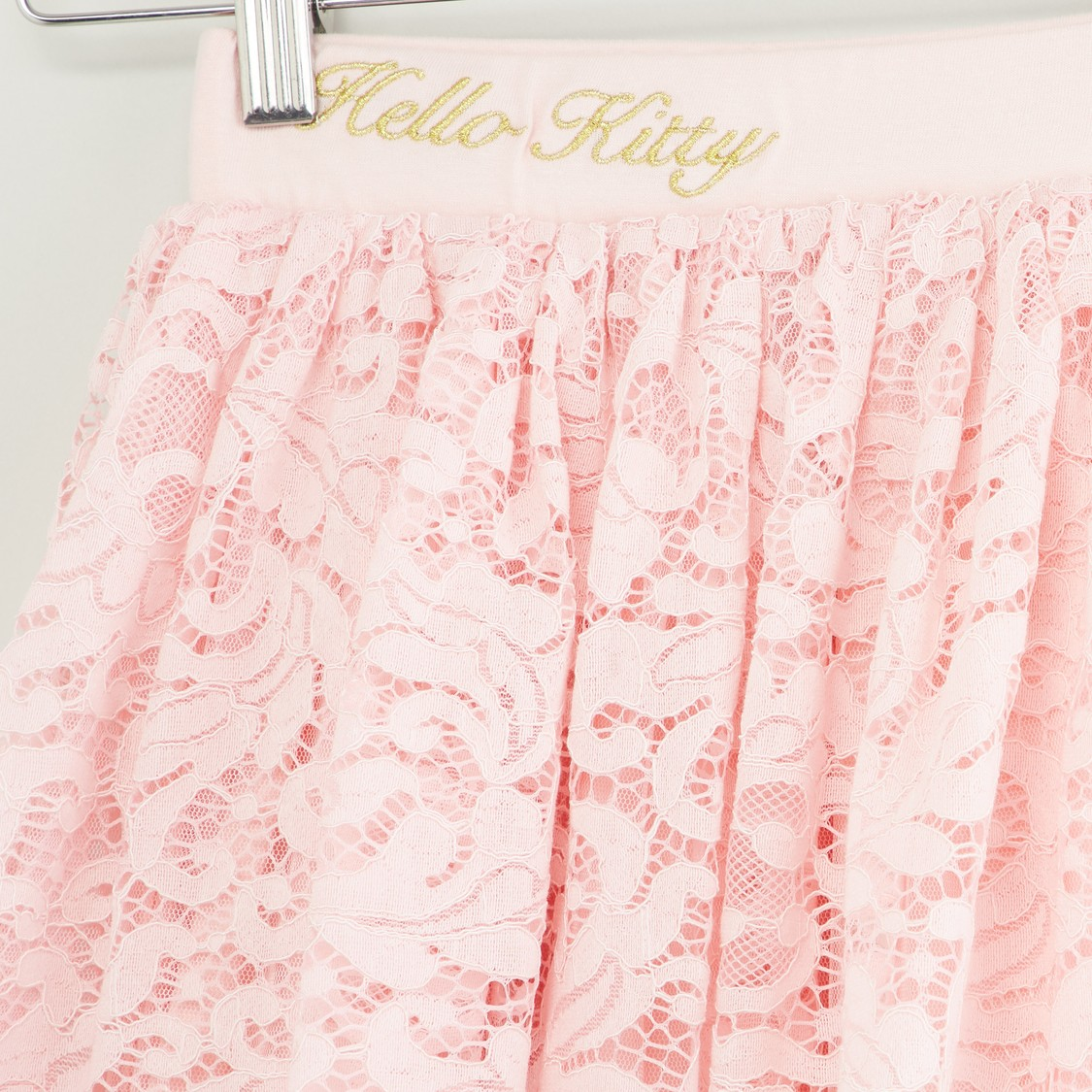 Hello Kitty Print T-shirt and Lace Skirt Set