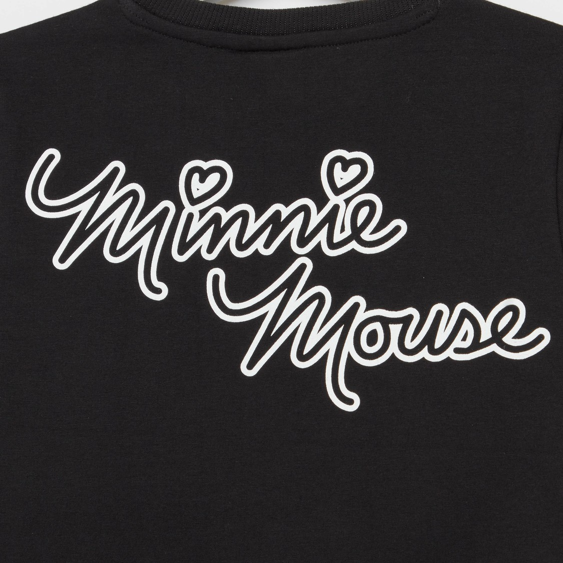 Sequinned Minnie Mouse Sweat Top with Round Neck and 3/4 Sleeves