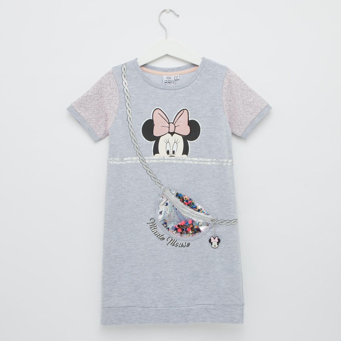 Minnie Mouse Embellished Detail Dress with Round Neck and Zip Detail