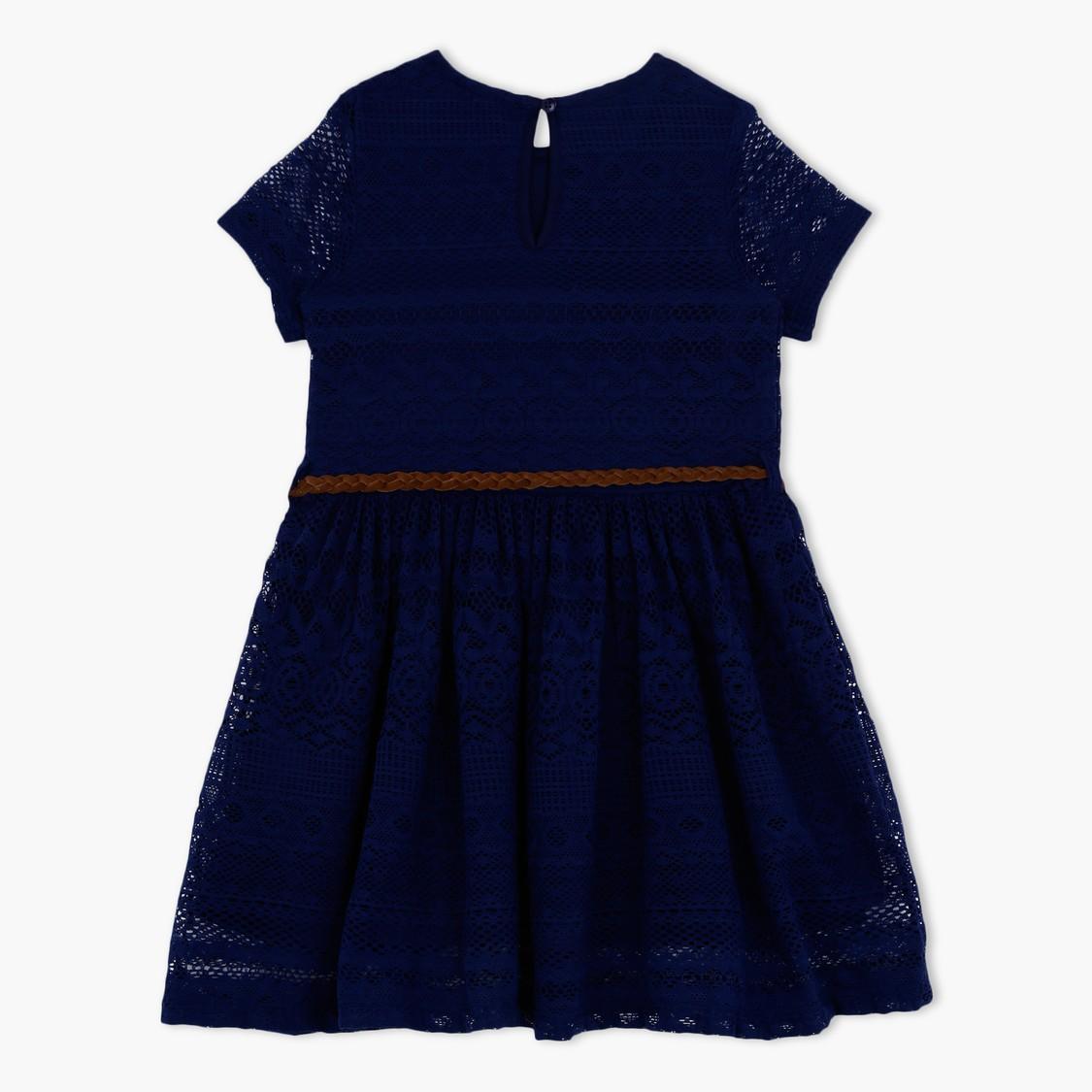Round Neck Short Sleeves Dress