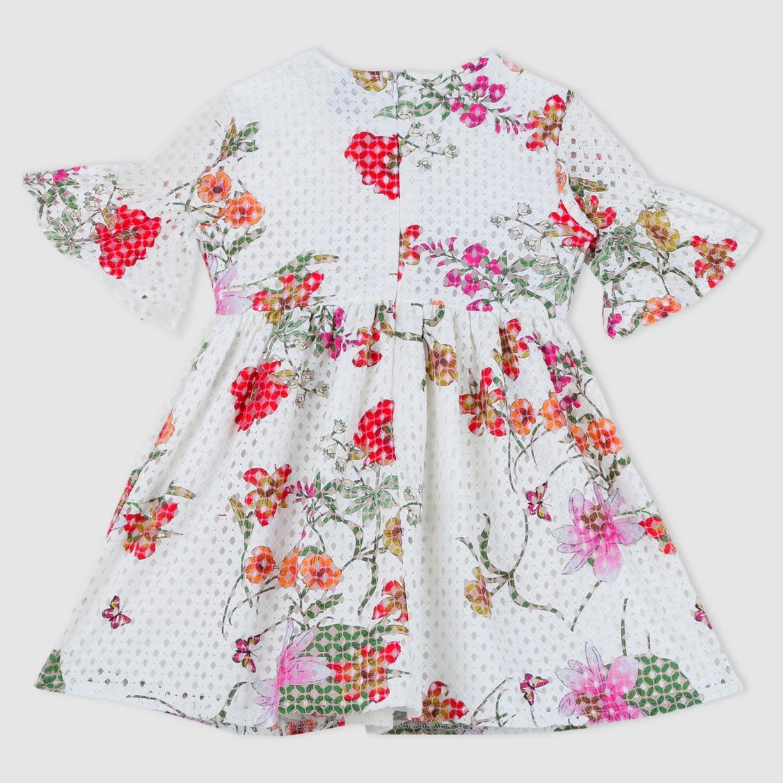 Floral Print Short Bell Sleeves Woven Dress