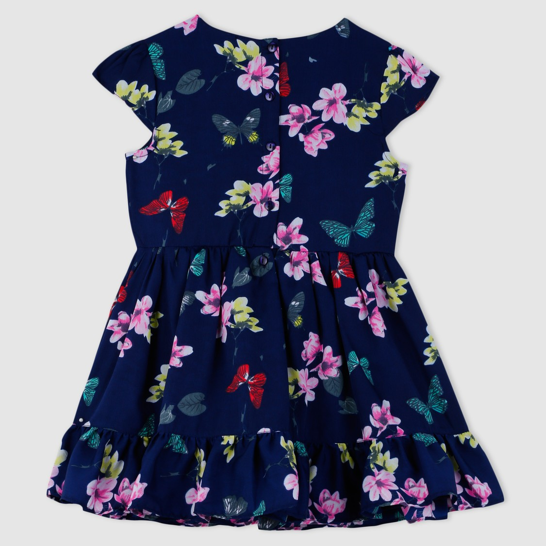 فستان بطبعات أزهار وأكمام قصيرة