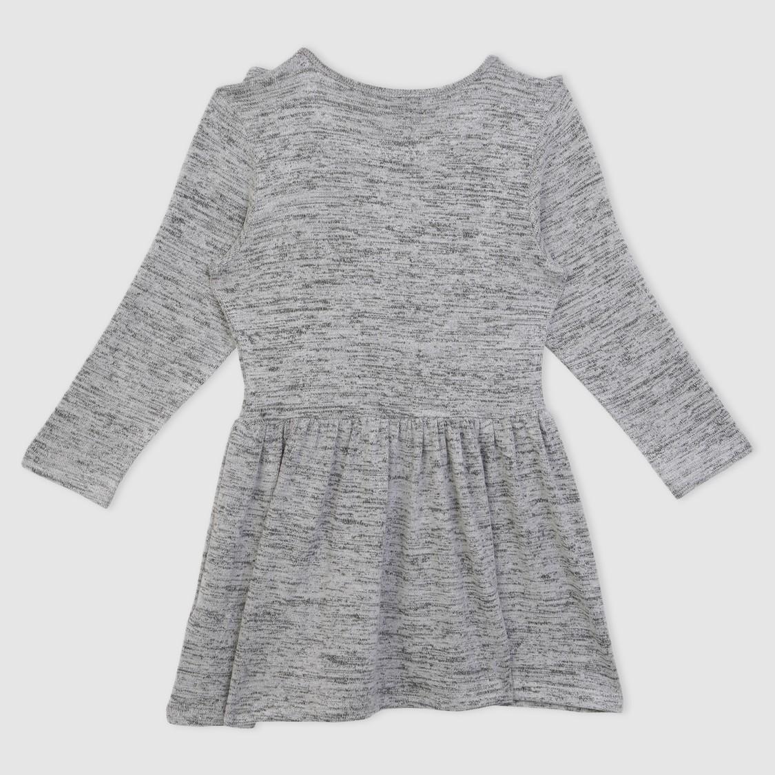 Ruffle Detail Long Sleeves Dress