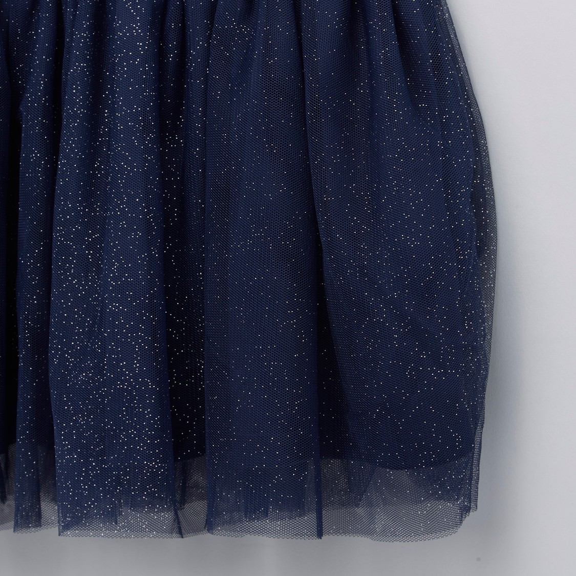 Sequin Detail Dress with Mesh Ruffle Detail