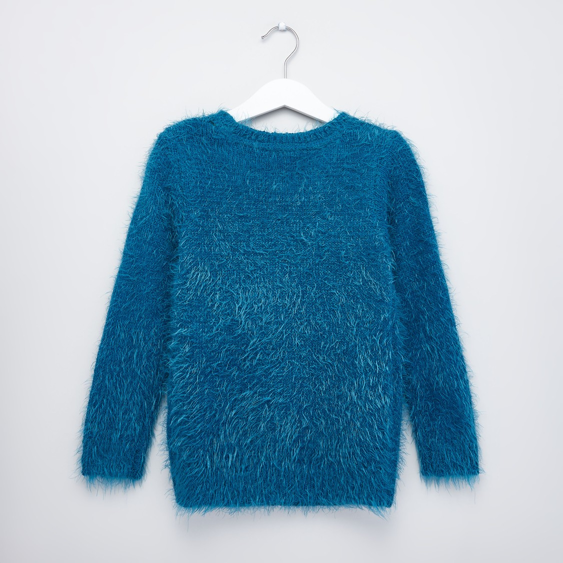 Textured Sweater with Long Sleeves and Applique Detail