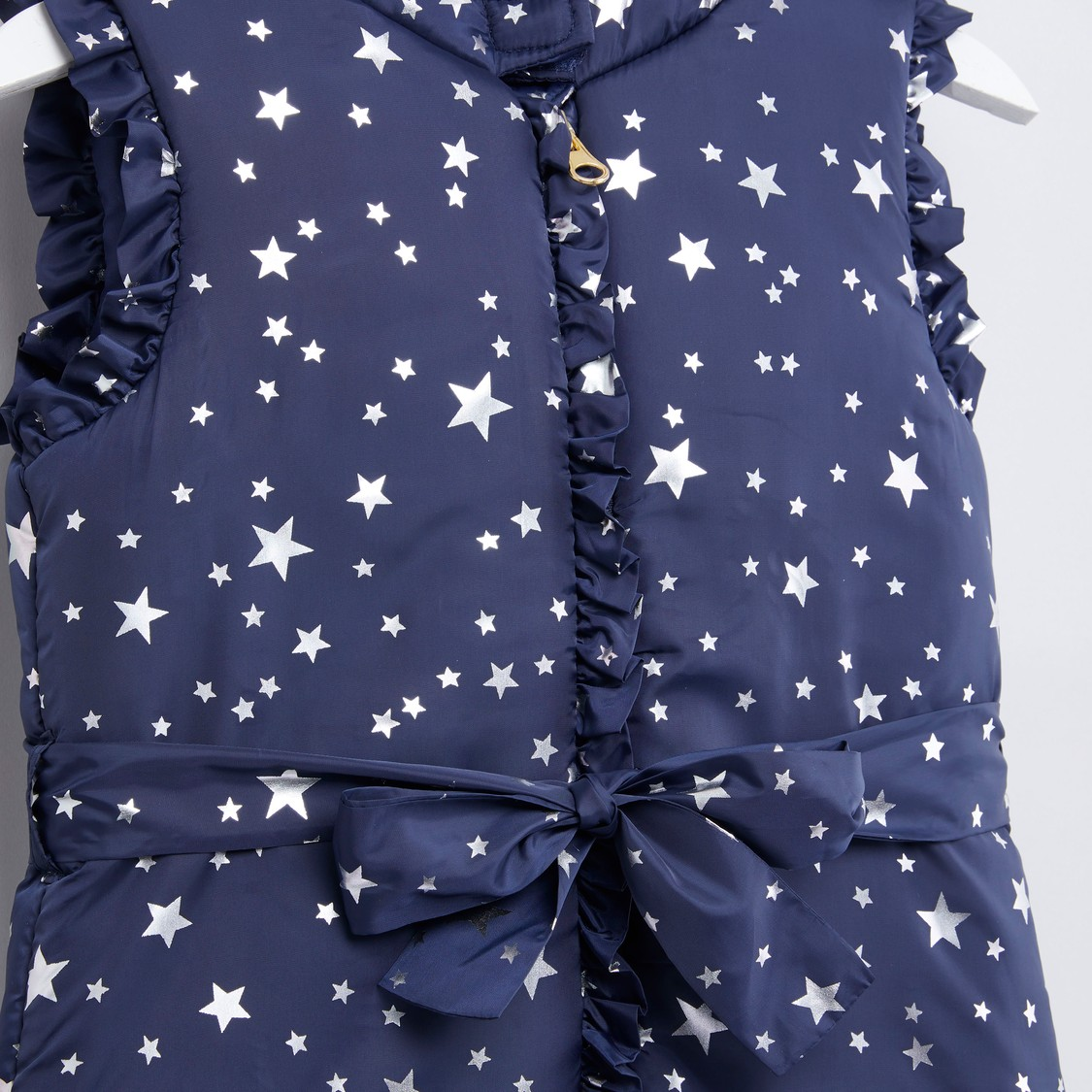 Star Printed Sleeveless Puffer Jacket with Zip Closure