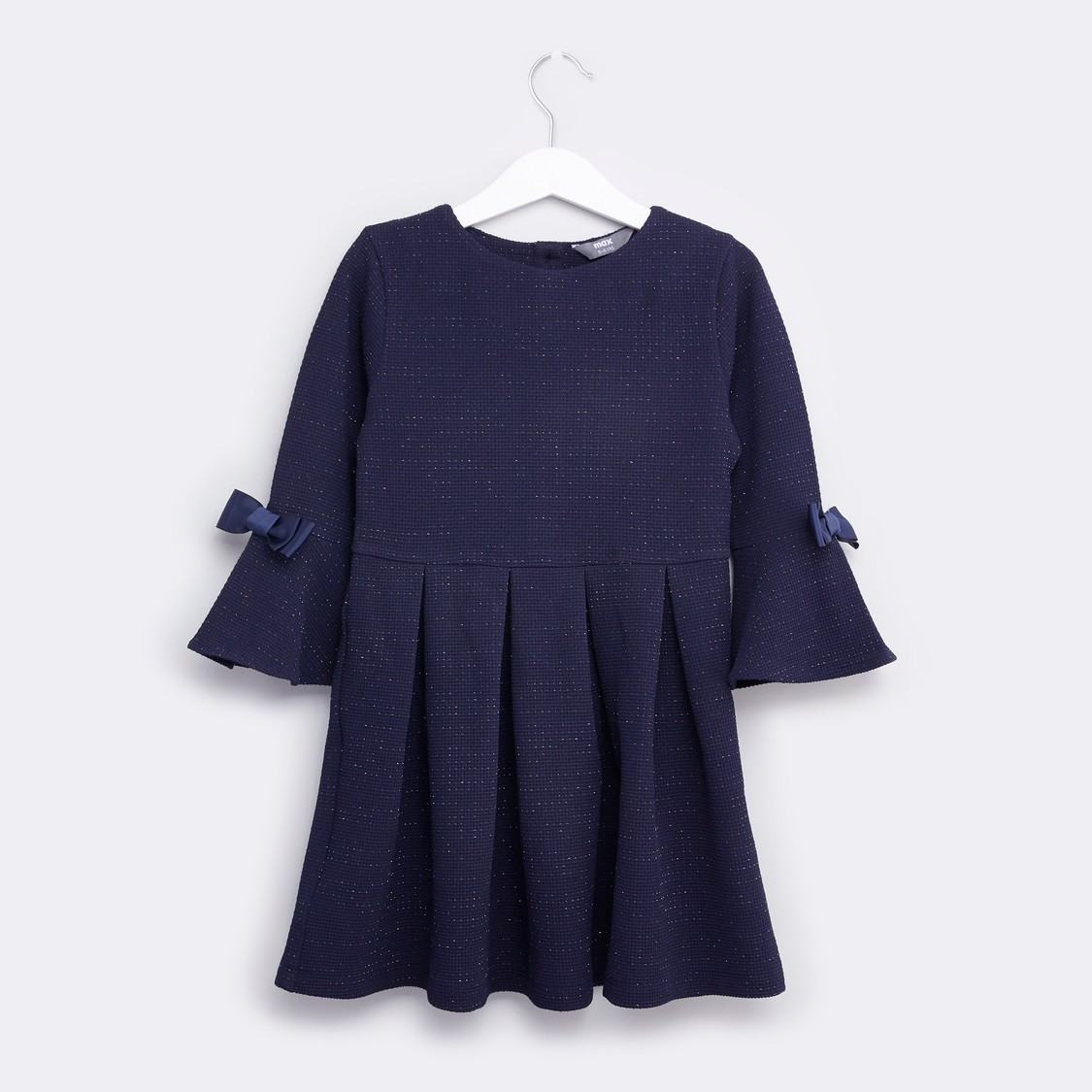Textured Dress with Round Neck and Long Sleeves