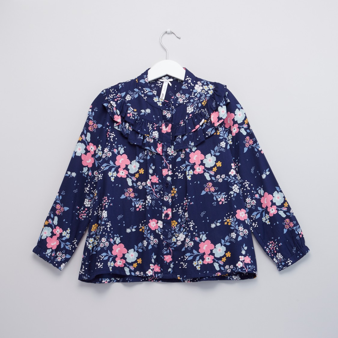 Floral Printed Button Through Top with Long Sleeves and Frill Detail