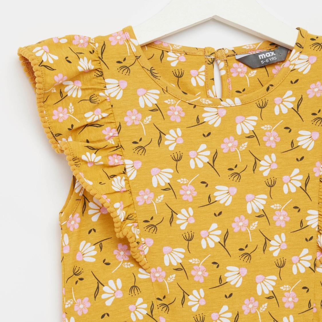 فستان ميدي دون أكمام بياقة مستديرة وطبعات أزهار