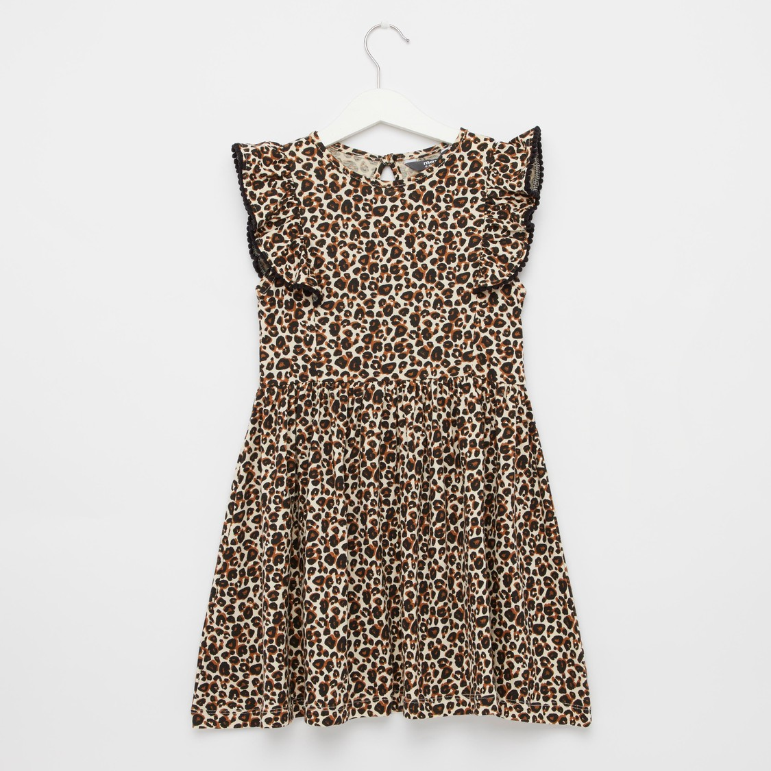All-Over Animal Print Dress with Round Neck and Cap Sleeves