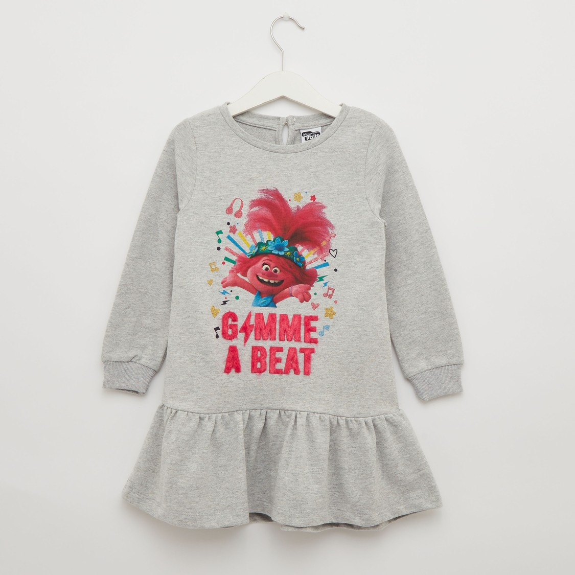 Trolls Print Dress with Round Neck and Long Sleeves