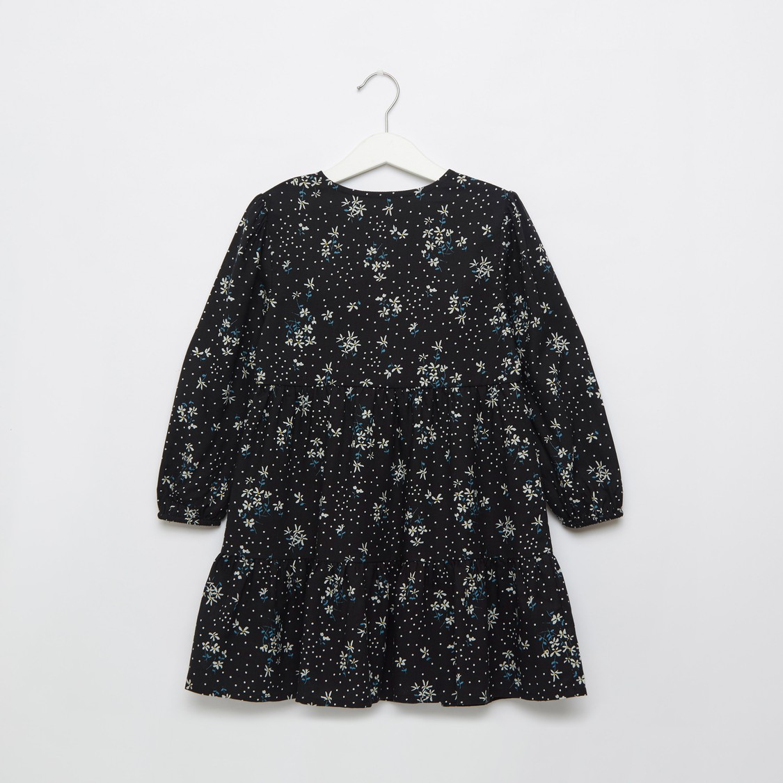 All-Over Floral Print Tiered Dress with Long Sleeves