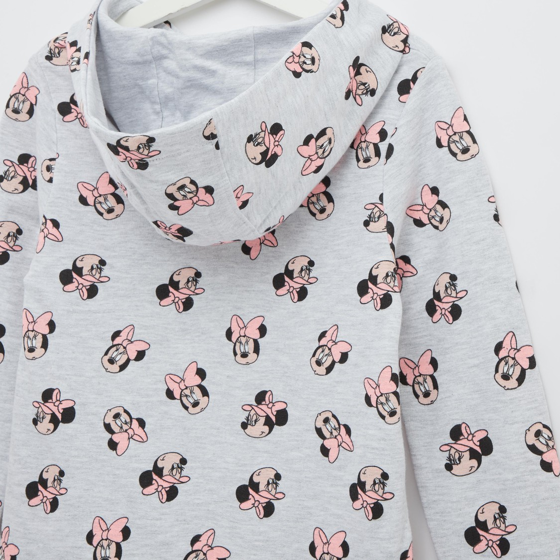 Minnie Mouse Print Sweat Dress with Long Sleeves and Hood