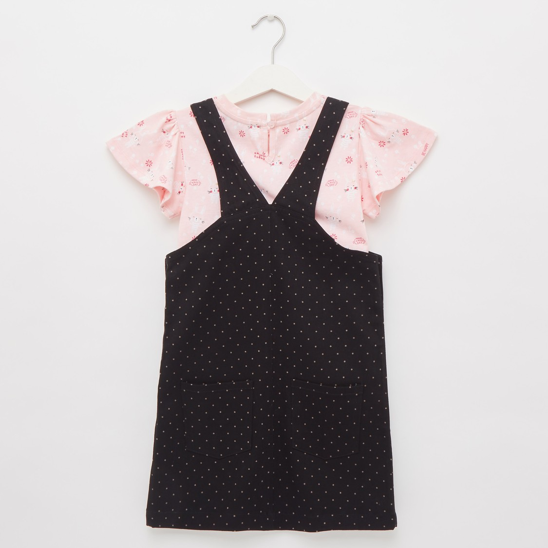 All-Over Print Square Neck Pinafore Dress with Top