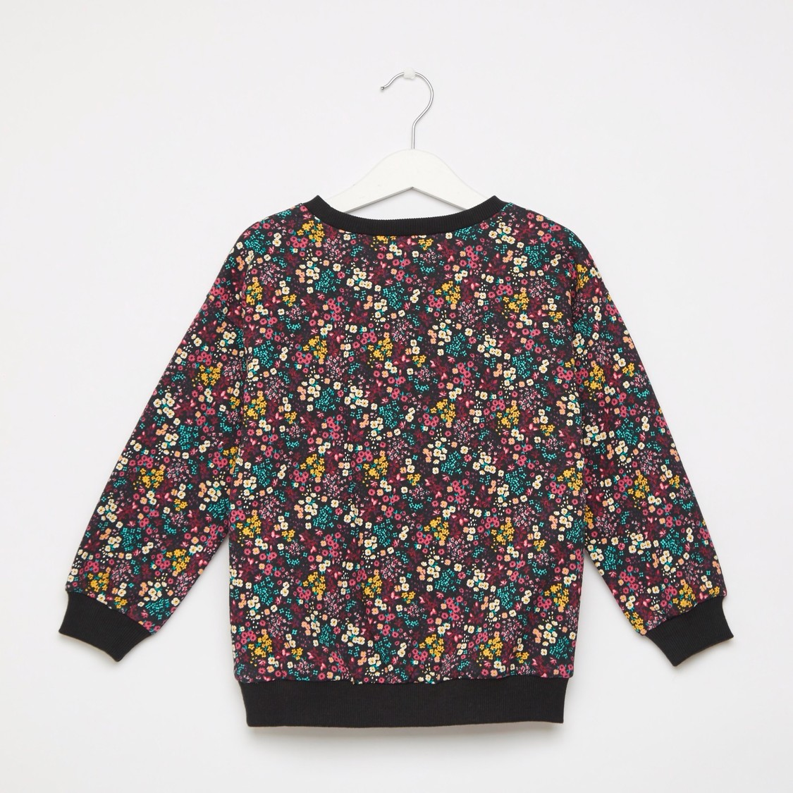 Floral Print Round Neck Sweat Top with Textured Slogan