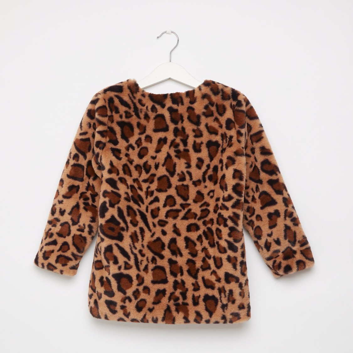 Animal Print Fur Coat with Bow Accent and Long Sleeves