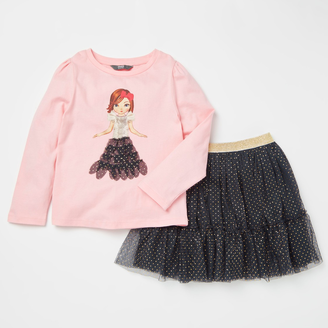 Applique Detail Long Sleeves T-shirt with All-Over Print Skirt