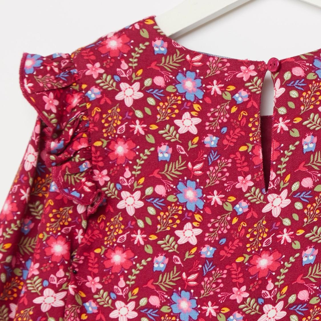 فستان ميدي بأكمام طويلة وتفاصيل كشكش مع طبعات أزهار بالكامل