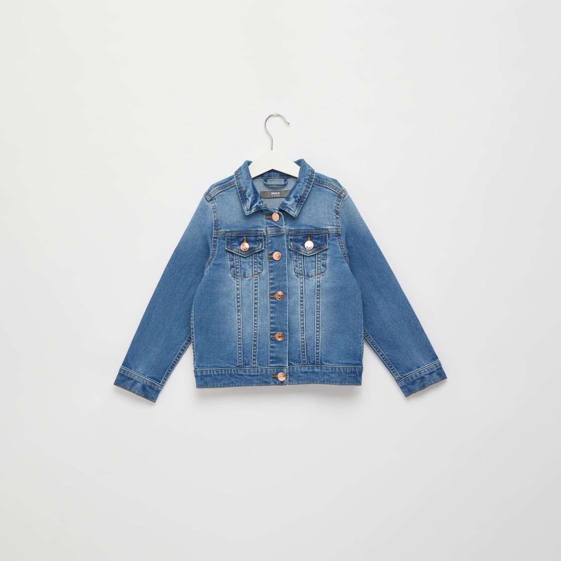 Solid Denim Jacket with Pockets and Long Sleeves