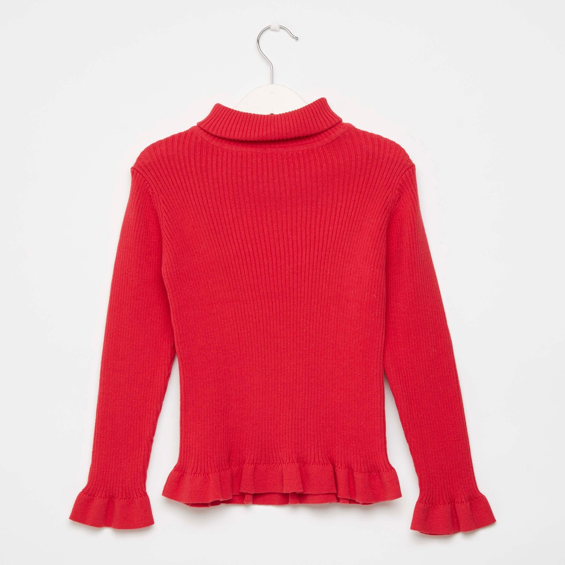 Rib Textured Turtleneck Sweater with Long Sleeves