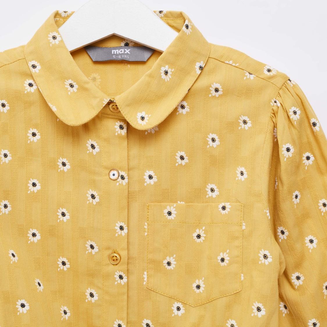 قميص بأكمام طويلة وربطة أمامية وتطريزات زهور