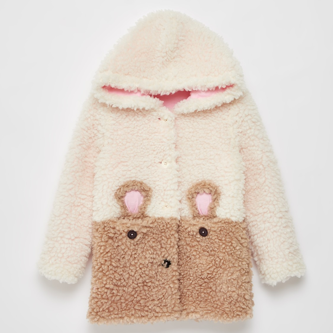 Textured Teddy Jacket with Hood and Long Sleeves
