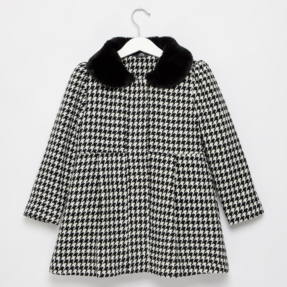 Houndstooth Checks Print Coat with Textured Peter Pan Collar