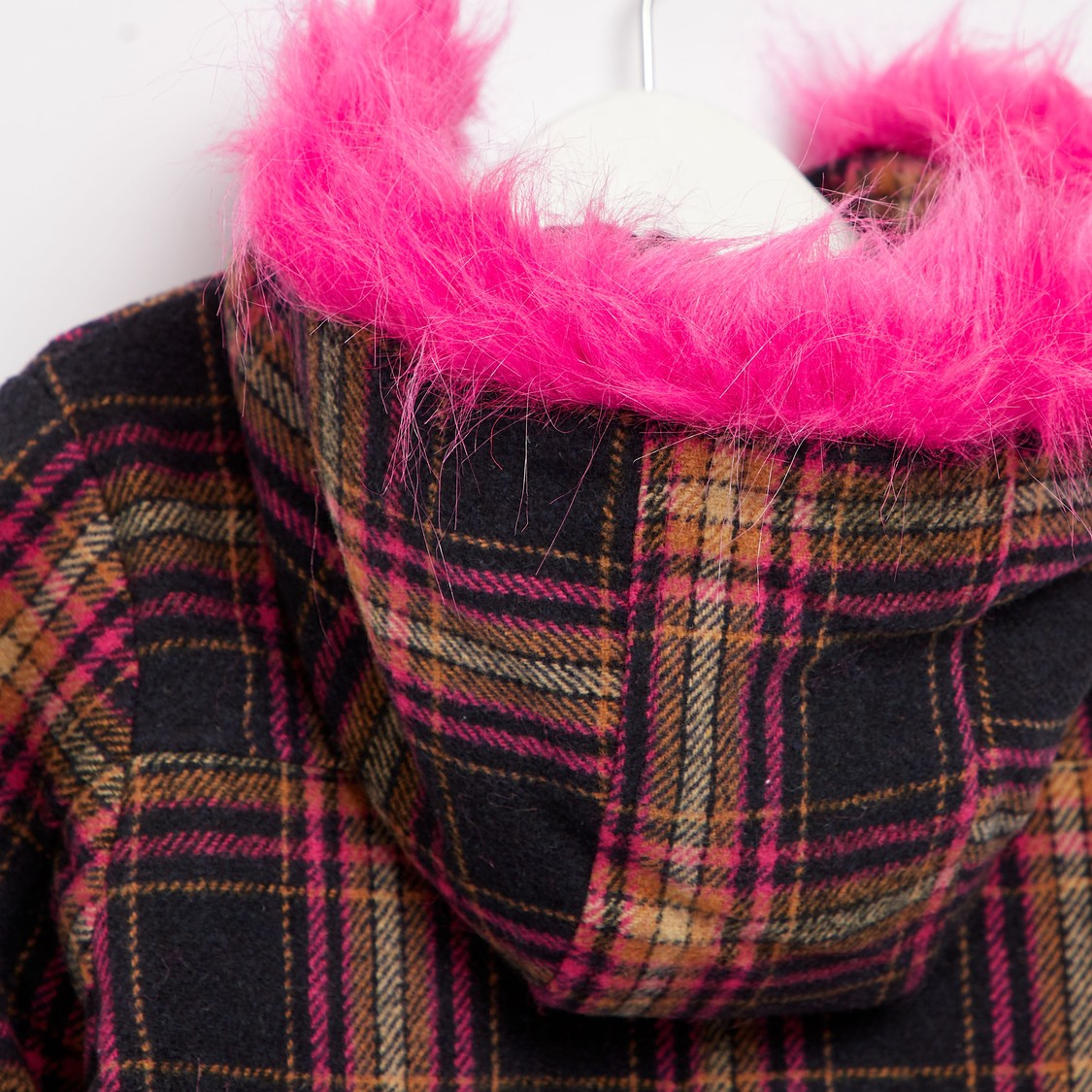 Checked Long Sleeves Duffle Coat with Fur Trim Hood