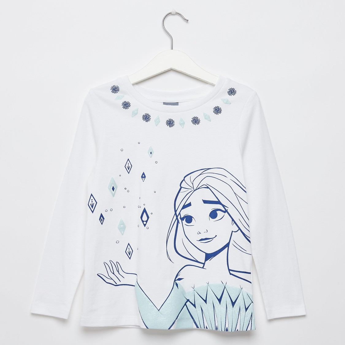 Frozen Elsa Print T-shirt with Round Neck and Long Sleeves