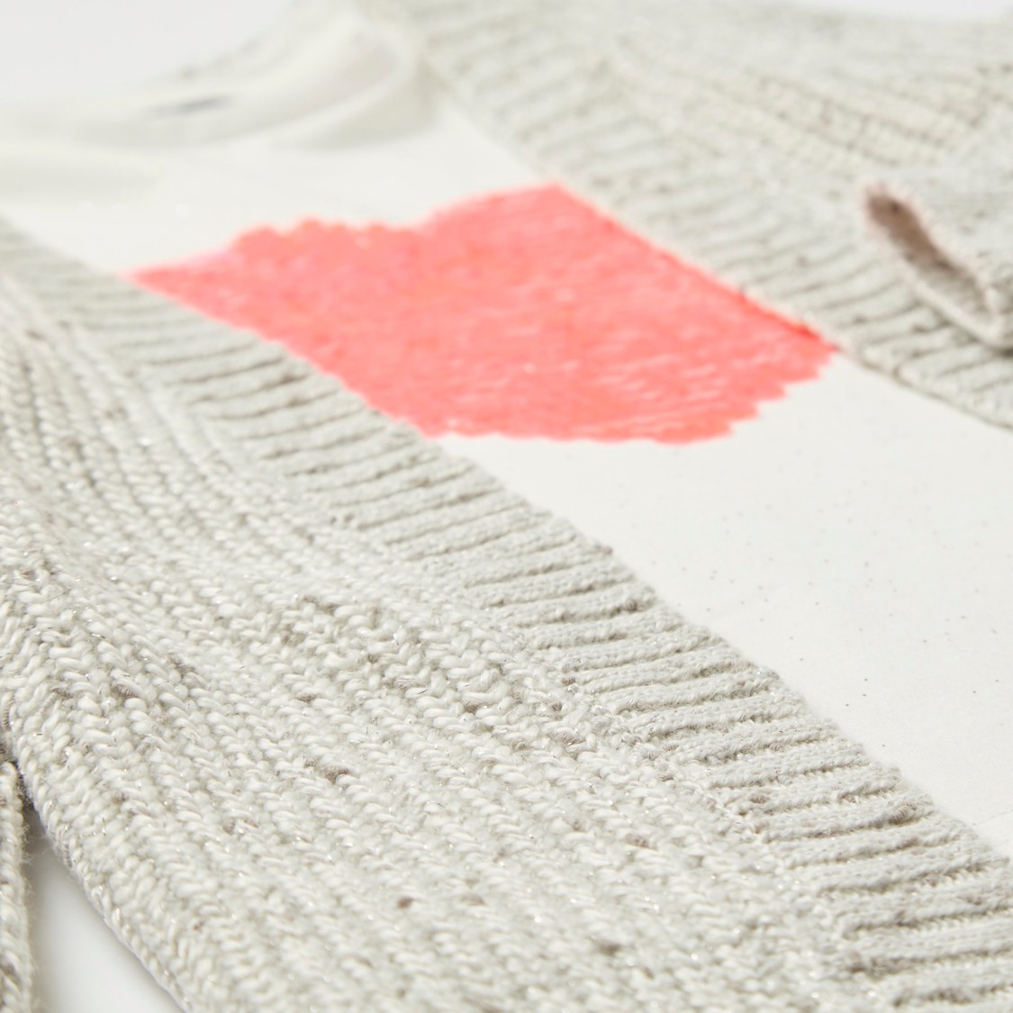 Sequin Detail Long Sleeves T-shirt with Textured Cardigan