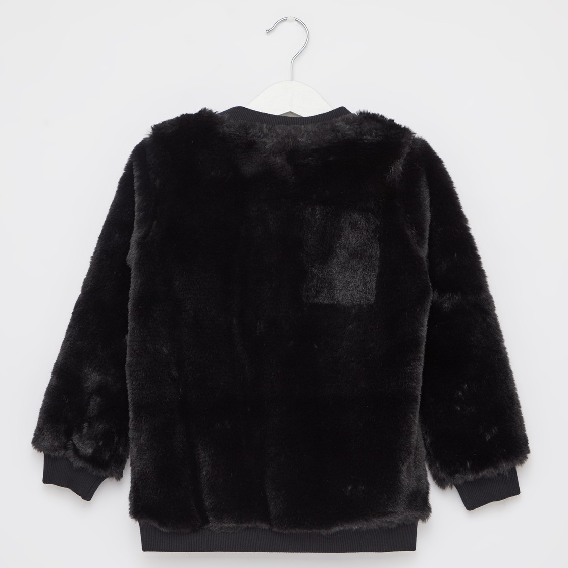 Fur Bomber Jacket with Long Sleeves and Zip Closure