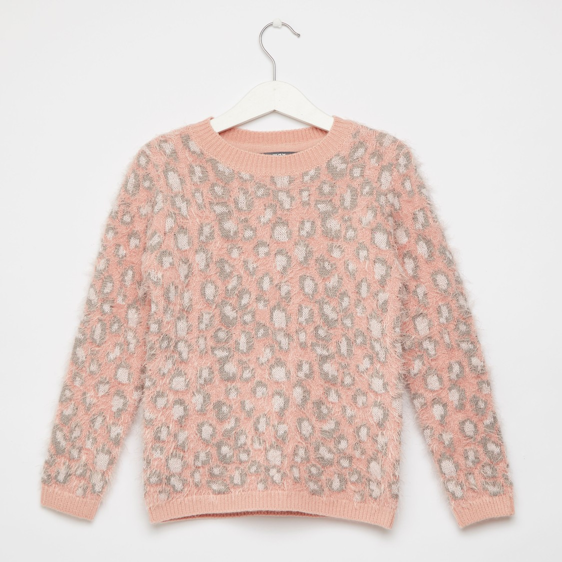 Animal Print Jacquard Sweater with Long Sleeves and Round Neck
