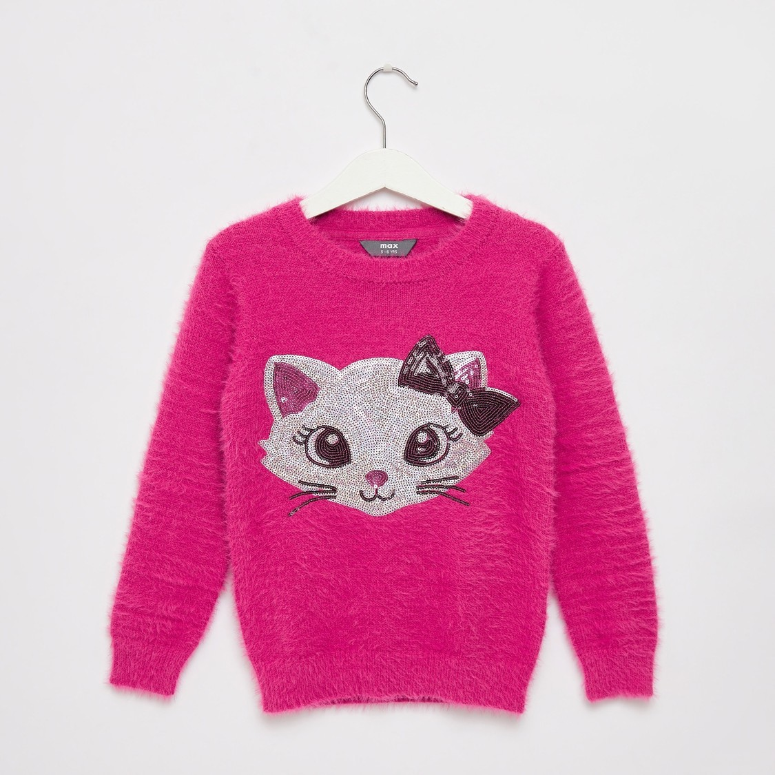 Sequin Detail Cat Sweater with Round Neck and Long Sleeves
