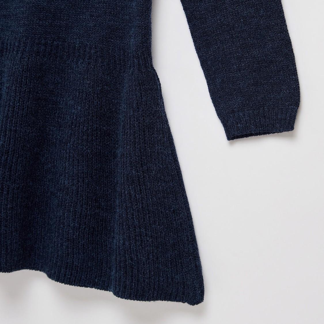 فستان كنزة كاروهات دائري بأكمام طويلة من فيريسل