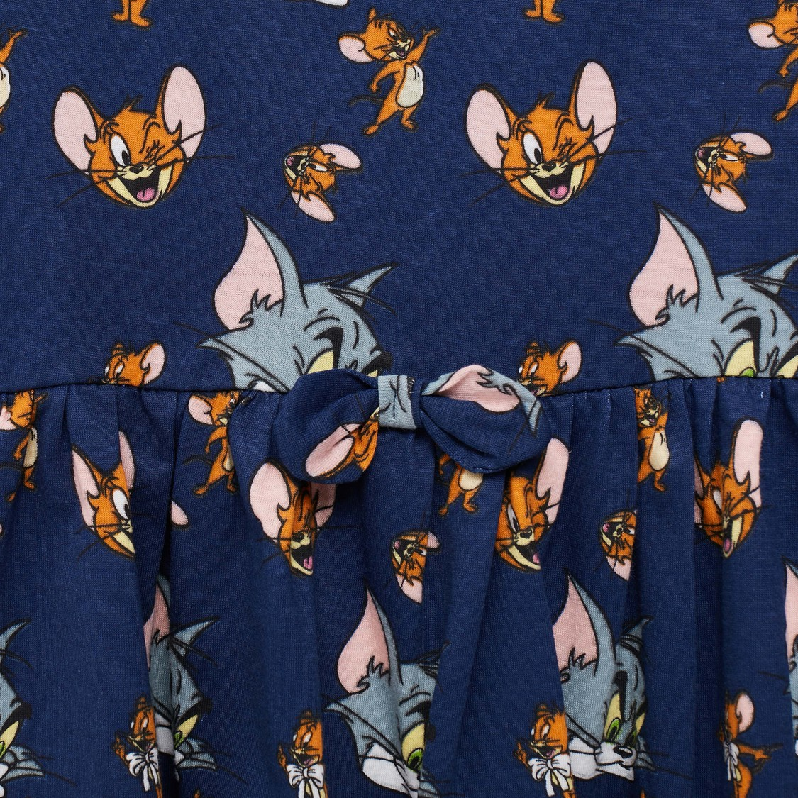Tom and Jerry Print Dress with Long Sleeves and Bow Applique