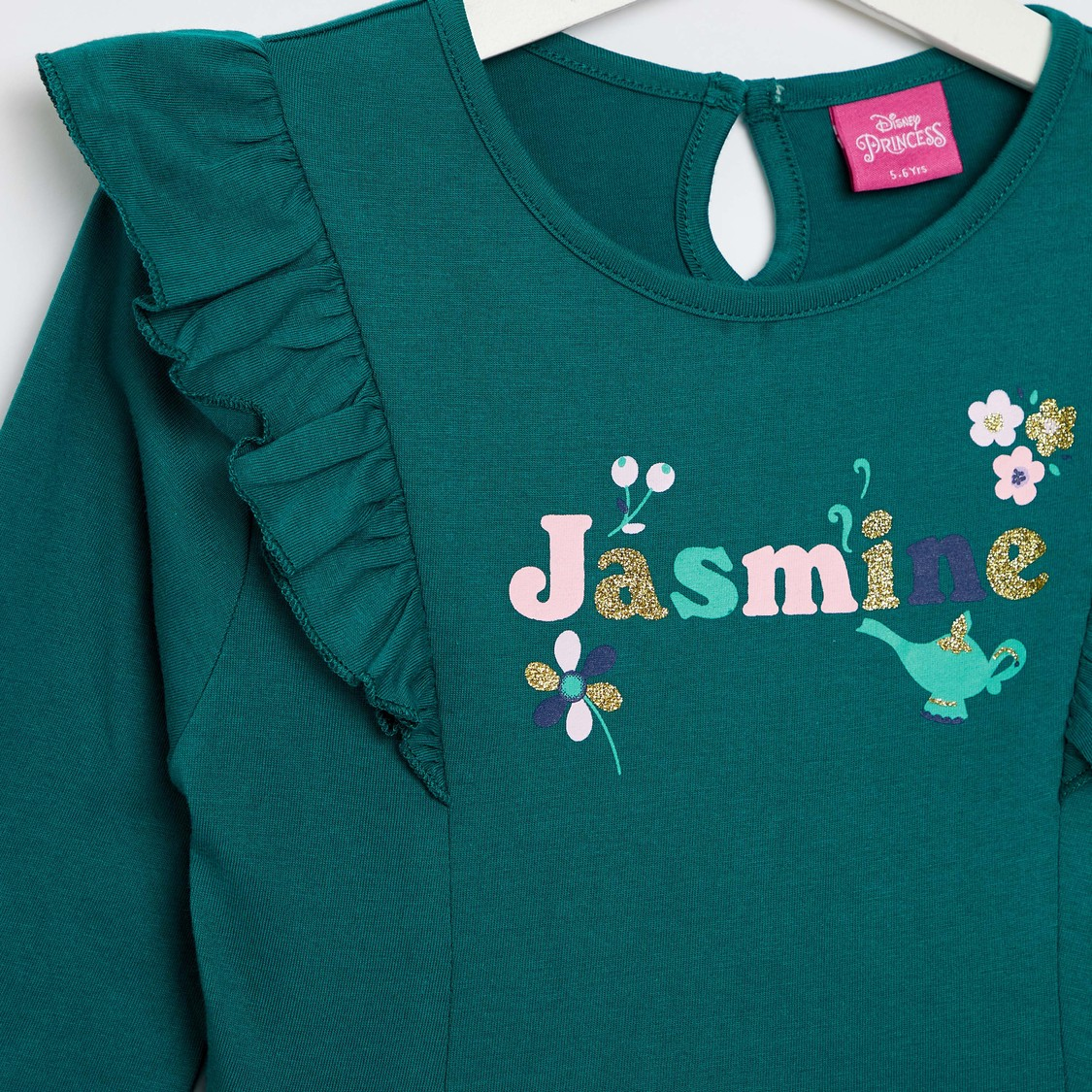 Jasmine Print Round Neck Knee Length Dress with Long Sleeves