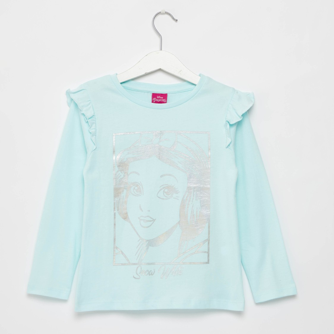 Snow White Graphic Print T-shirt with Long Sleeves and Frill Detail