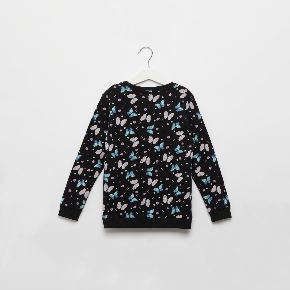 All-Over Butterfly Print Sweatshirt with Round Neck and Long Sleeves