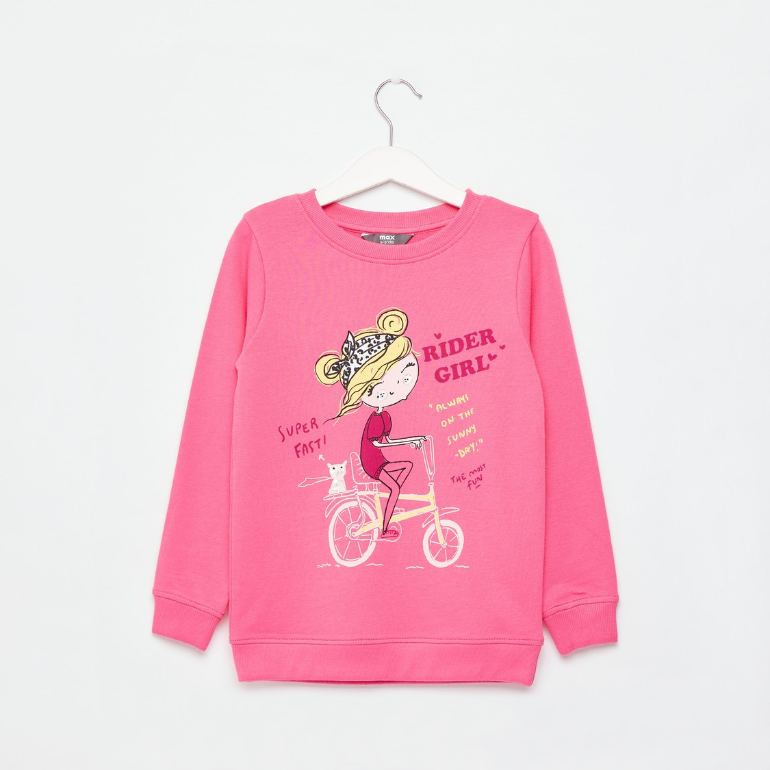 Graphic Print Sweatshirt with Round Neck and Long Sleeves