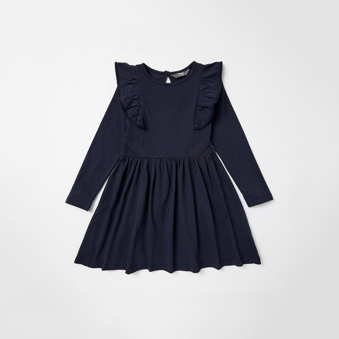 Set of 2 - Assorted Dress with Long Sleeves and Ruffle Detail